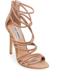 9758f0ddfd0 Steve Madden Fefe Suede And Feather Dress Sandals in Pink - Lyst