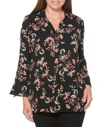 Rafaella - Tossed Floral Button-down Top - Lyst
