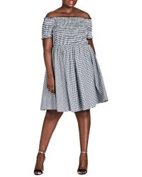 City Chic - Trendy Plus Size Cotton Gingham Smocked Dress - Lyst