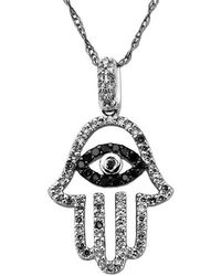 Lord & Taylor - Two Tone Diamond Hamsa Hand Pendant In 14 Kt. White Gold 0.33 Ct. T.w. - Lyst
