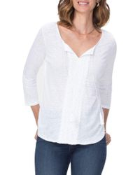 NYDJ - Tied-neck Lace-trim Linen Top - Lyst