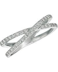 Morris & David - Diamond And 14k White Gold Criss-cross Ring - Lyst