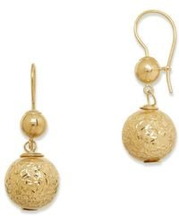 Lord & Taylor - Ball Crystal And 14k Yellow Gold Drop Earrings - Lyst