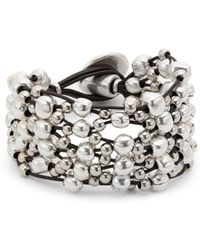 Uno De 50 - Leather And Bead Layered Bracelet - Lyst