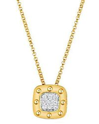 Roberto Coin - Pois Mois Diamond And 18k Yellow Gold Pendant Necklace - Lyst