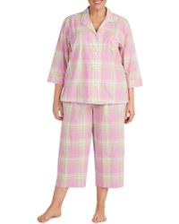 Lauren by Ralph Lauren - Plus Two-piece Cropped Pyjama Set - Lyst