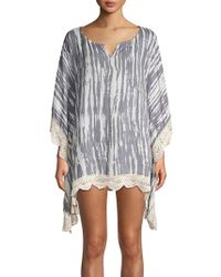 Surf Gypsy - Tie-dyed Crochet Lace-trimmed Coverup - Lyst