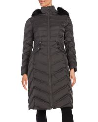 Laundry by Shelli Segal - Faux Fur-trimmed Puffer Down Coat - Lyst