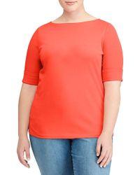 Lauren by Ralph Lauren - Plus Cotton Boatneck T-shirt - Lyst