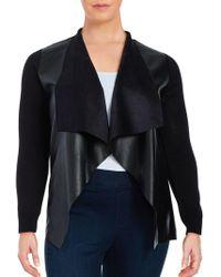 MICHAEL Michael Kors - Plus Mixed Media Leatherette Cardigan - Lyst