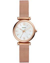 Fossil - Carlie Three-hand Rose-goldtone Stainless Steel Bracelet Watch - Lyst