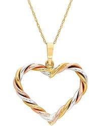 Lord & Taylor - 14k Tri-tone Gold Braided Heart Pendant Necklace - Lyst