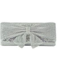 Jessica Mcclintock - Metal Embellished Clutch With Bow Accent - Lyst