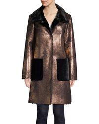 Ellen Tracy - Metallic Sherpa Coat - Lyst