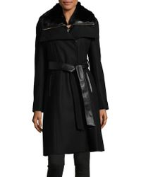 French Connection - Belted Faux Fur Collar Coat - Lyst