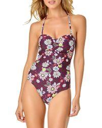 93436ea4f5 Ted Baker Tuela Chatsworth Bloom Halter Swimsuit in Green - Lyst
