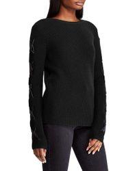 Lauren by Ralph Lauren Petite Lace-up Ribbed Sweater