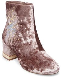 Lord & Taylor | Auntie Embroidered Velvet Booties | Lyst
