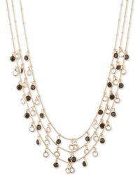 Anne Klein - Shaky Jet Circle Drop Three-strand Necklace - Lyst