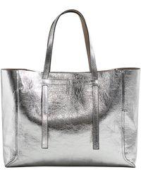 Mango - Argente Metallic Faux Leather Shopper - Lyst