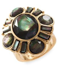 Lucky Brand - Gold-tone Black Mother-of-pearl Stone Statement Ring - Lyst