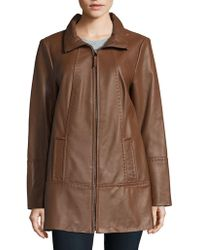 Jones New York - Plus Size Zip-front Leather Jacket - Lyst