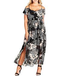 City Chic - Plus Shadow Floral Maxi Dress - Lyst