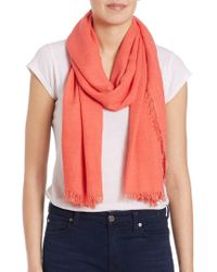Lord & Taylor - Fringed Scarf - Lyst