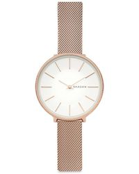 Skagen - Karolina Rose-goldtone Silk-mesh Bracelet Watch - Lyst