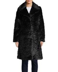 Kate Spade - Faux Fur Long-sleeve Wrap Coat - Lyst