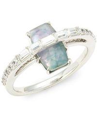 Nadri - Gris Quartz And Abalone Ring - Lyst