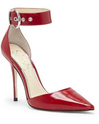 Jessica Simpson - Waldin Patent Leather Ankle-strap Court Shoes - Lyst