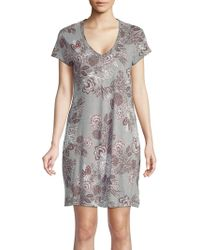 Lord & Taylor - Floral V-neck Cotton Nightshirt - Lyst