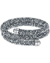 Swarovski - Silver-tone Dark-hued Crystaldust Wrap Bracelet - Lyst