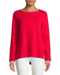 Jones New York - Roundneck Hi-lo Hem Pullover - Lyst