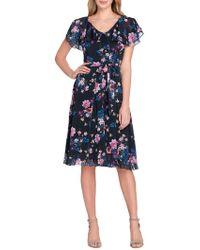 Tahari - Floral Tiered Ruffle Self-tie Fit-&-flare Dress - Lyst