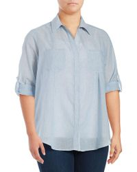eac990cfdfc60 Lord   Taylor Plus Tiffany Crinkle Linen Button-down Shirt in White ...
