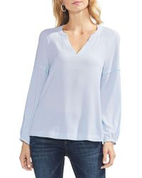 Vince Camuto - Bubble Sleeve Soft Textured Blouse - Lyst