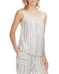 Vince Camuto - Striped Linen-blend Top - Lyst