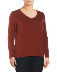 Lord & Taylor - Plus Long-sleeve Essential V-neck Tee - Lyst