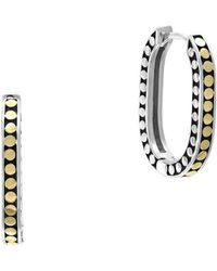 Effy - 925 Sterling Silver And 18k Yellow Gold Hoop Earrings - Lyst