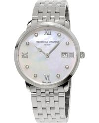 Frederique Constant - Slimline Ladies Grande Stainless Steel And Mother-of-pearl Watch - Lyst