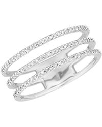 Adina Reyter - Sterling Silver & Pave Diamond Triple Band Ring - Lyst