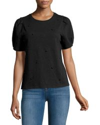 Kensie - Embellished Short-sleeve Cotton Top - Lyst
