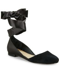 424 Fifth - Pattie Suede Ankle-strap Flats - Lyst