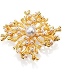 Kenneth Jay Lane - Faux Pearl Cluster Coral Branch Pin - Lyst