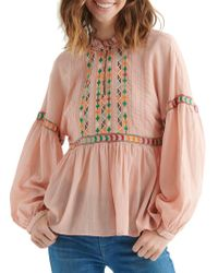 Lucky Brand - Embroidered Long-sleeve Top - Lyst
