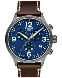 Tissot - T116.617.36.047.00 Chrono Xl Stainless Steel And Leather Watch - Lyst