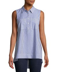 Jones New York - Striped Cotton Collared Shirt - Lyst