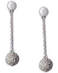 Effy - Diamond Ball Drop Earrings In 14 Kt. White Gold 0.68 Ct. T.w. - Lyst